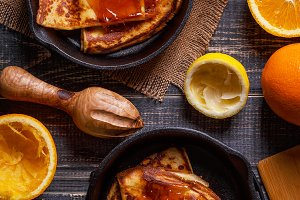 french crepes with orange syrup