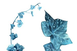 Set of blue watercolor leaves
