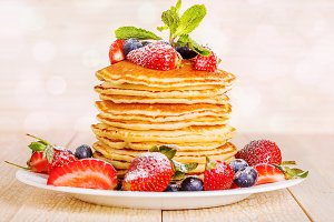pancakes with berries and fruit