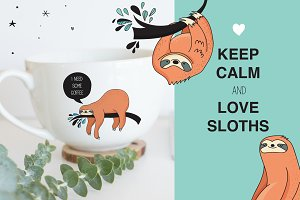 Cute sloths icons, cards, patterns