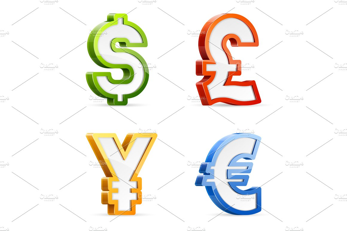 Currency symbols icons creative market buycottarizona Image collections