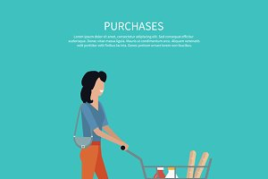 Woman with Cart Purchases Design