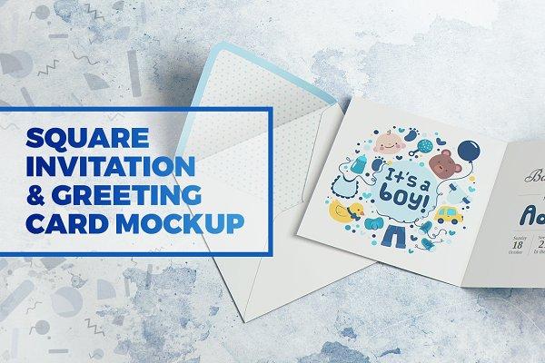 Square Invitation & Greeting Mockup