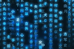 Blue symbols of matrix code pattern
