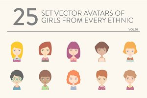 25 vector avatars of girls vol.01