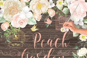 VECTOR Watercolor Rose Peach Garden