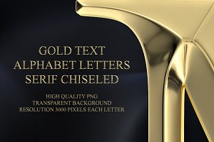 Gold Text Alphabet Letters
