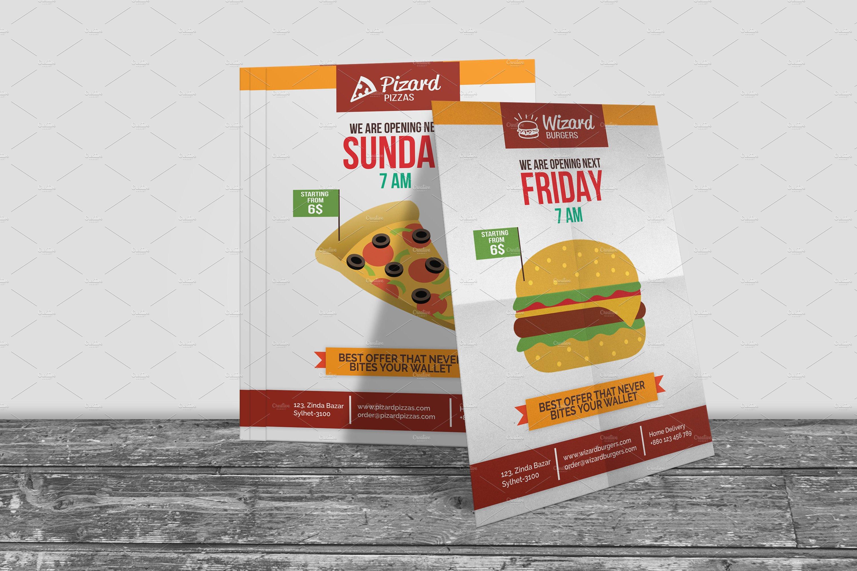 Fast Food Shop Opening Flyer Flyer Templates Creative Market