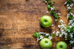 Spring background with apples