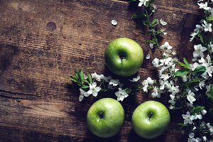 Moody apples and apple blossoms