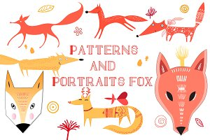 Patterns and portraits funny fox