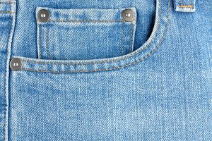 Pocket on blue jeans