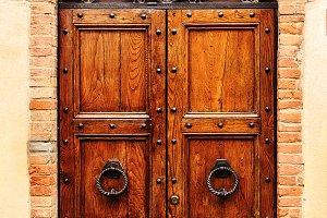 brown wooden old door