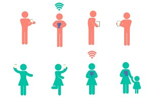 People icons in using technology set
