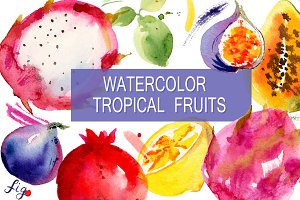 Watercolor tropical fruits. Pack.
