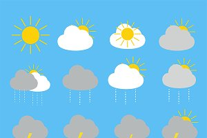 Weather forecast  16 icons set