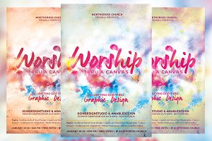 Worship Thru a Canvas Church Flyer