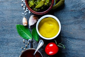 Sauces with herbs and spices
