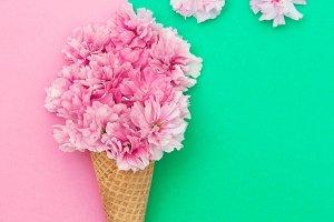 Ice cream waffle cone flowers