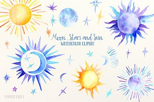 Watercolor Sun, moon and stars