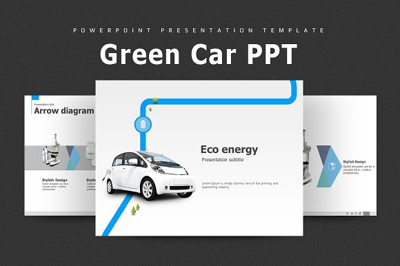 green car animated ppt presentation templates creative market