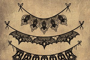 Halloween Lace Banners Clipart