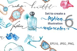 Watercolor fashion illustration.