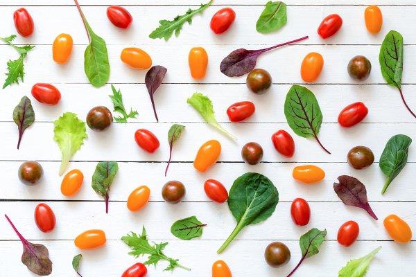 Healthy green food pattern flat lay