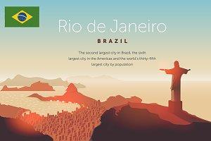 Rio de Janeiro skyline. Jesus Christ
