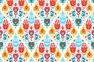 Colorful ikat seamless pattern
