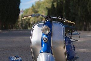 Vintage motorcycle on road