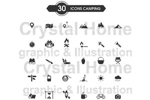 Camping leisure flat icon set