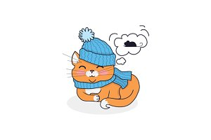 Sleeping Cat in Hat and Scarf Design