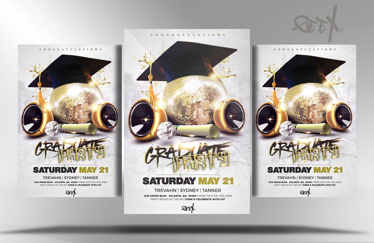 Graduation party flyer templates creative market for Graduation brochure templates
