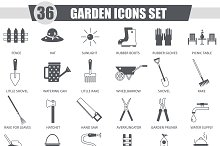 36 Garden tools black icon set.