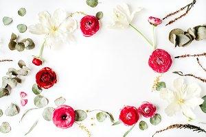 Floral frame with ranunculus