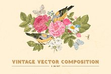 Vintage floral vector card. 3 in set