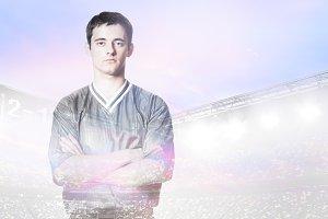 player double exposure portrait