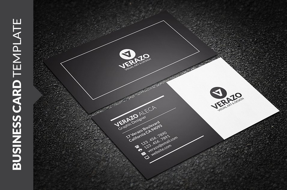 Clean black white business card business card templates clean black white business card business card templates creative market colourmoves Image collections