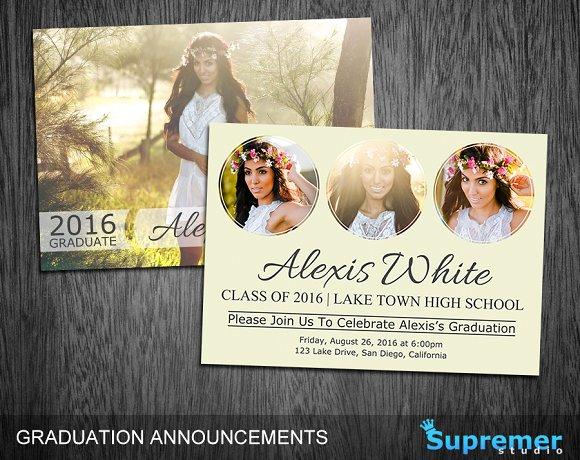 Graduation Announcement Template 06 Card Templates on Creative – Graduation Announcement Template