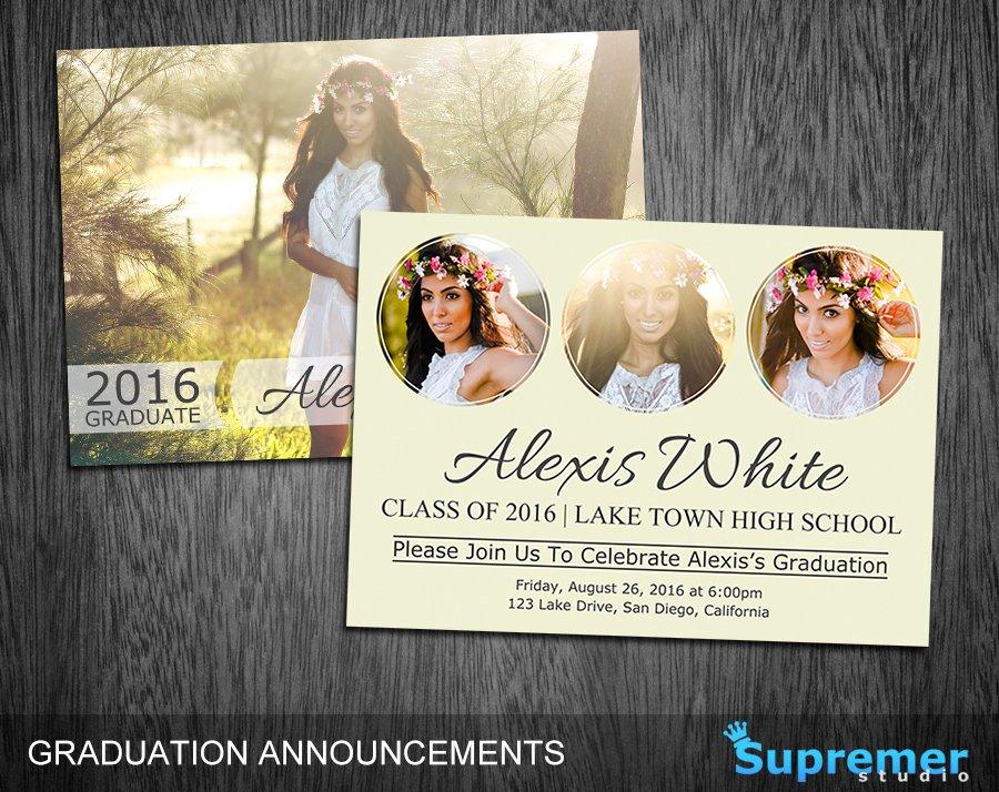 Graduation announcement template 06 card templates creative market maxwellsz