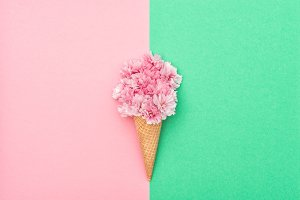 Pink flowers ice cream waffle cone