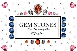 Vector gem stones set