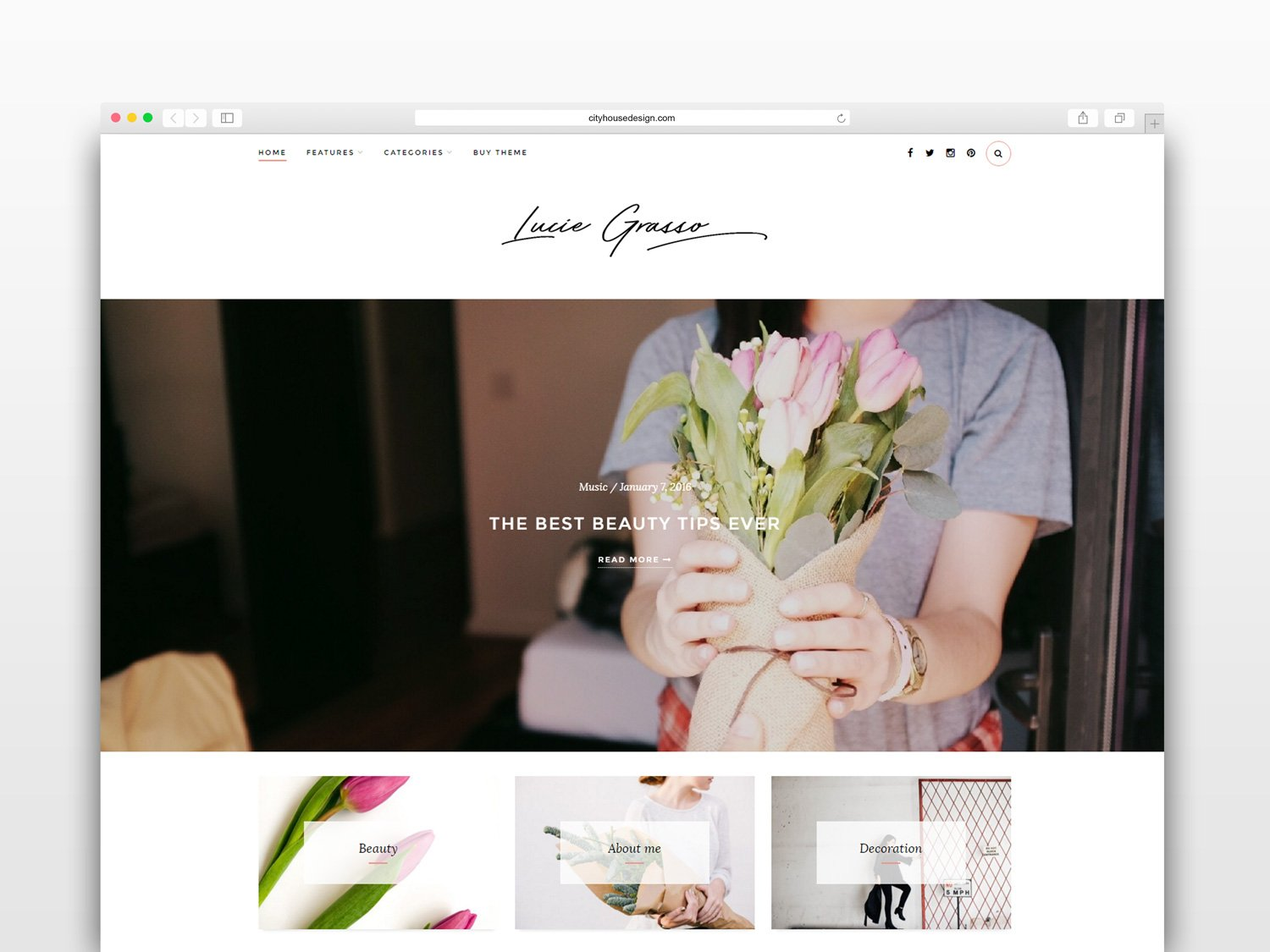 Lucie Grasso - Wordpress blog theme ~ WordPress Blog Themes ...