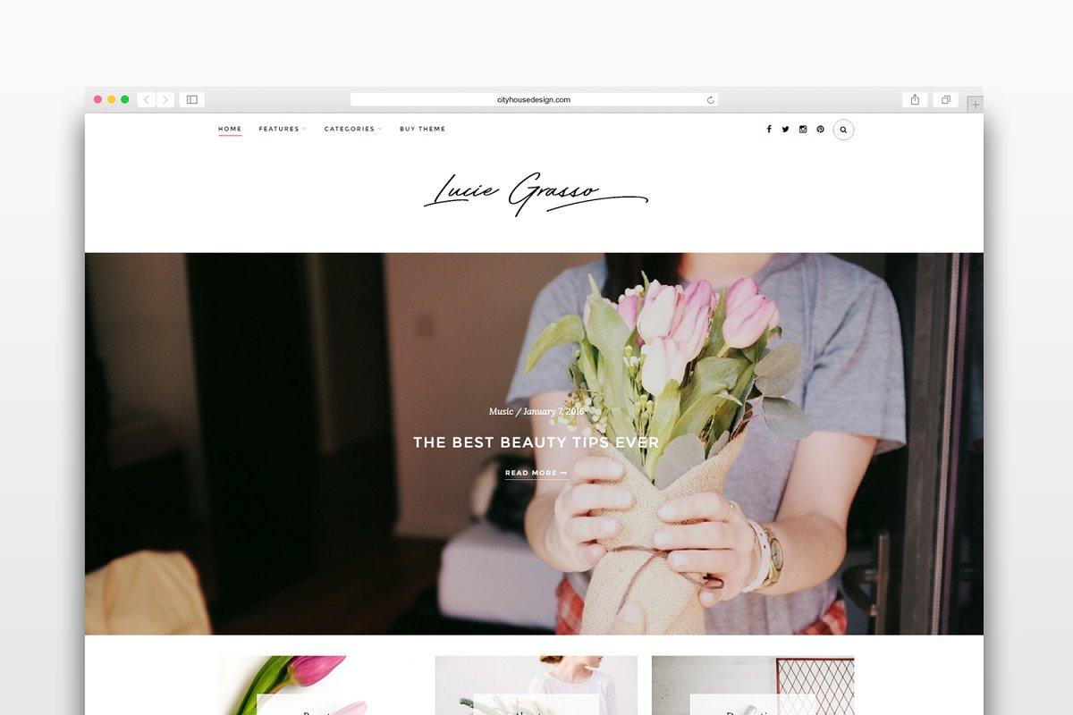 Lucie Grasso - Wordpress blog theme ~ WordPress Blog Themes