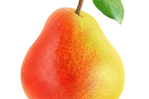One yellow red pear, isolated