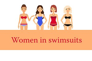 Set of Women in Different Swimsuits