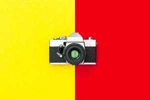 Vintage camera Minimal Flat lay