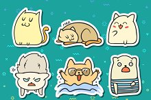Set sticker. Doodle cats. Funny