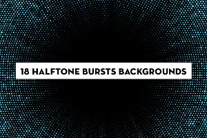 18 halftone burst backgrounds